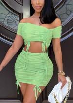 Set di top corto e minigonna a balze sexy verde estivo