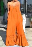 Monos de campana con tirantes naranjas casuales de talla grande de verano