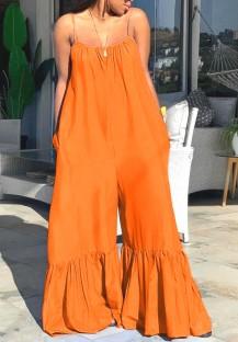 夏プラスサイズ カジュアル オレンジ ストラップ ベル ジャンプスーツ