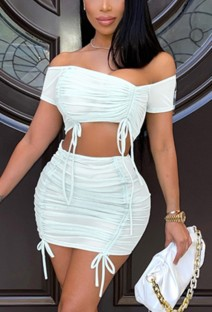 Top branco sexy franzido com franzido e conjunto de minissaia