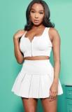 Summer Sports Conjunto de chaleco blanco con cremallera y falda plisada