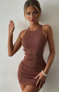 Summer Casual Brown Knit Halter Mini Dress
