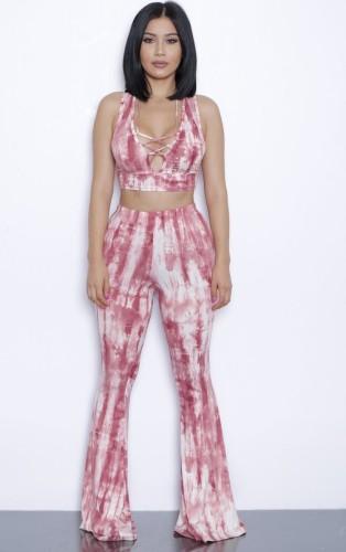 Ensemble haut court et pantalon rose à lacets tie-dye d'été