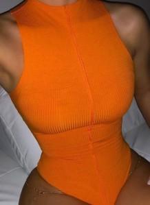 夏 オレンジ セクシー ノースリーブ ボディスーツ
