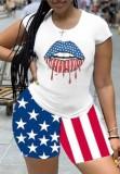 Sommer-Flaggen-Print Sexy Bodycon Hemd und Shorts Set