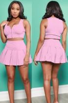 Summer Sports Pink Zipper Vest and Pleated Skirt Set