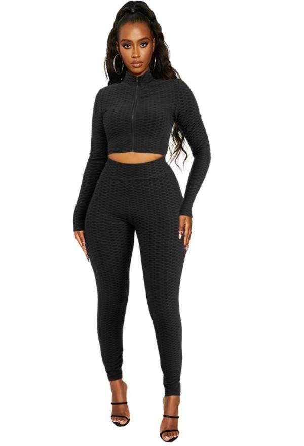 Summer Black Ruffles Tight Crop Top y Legging Set