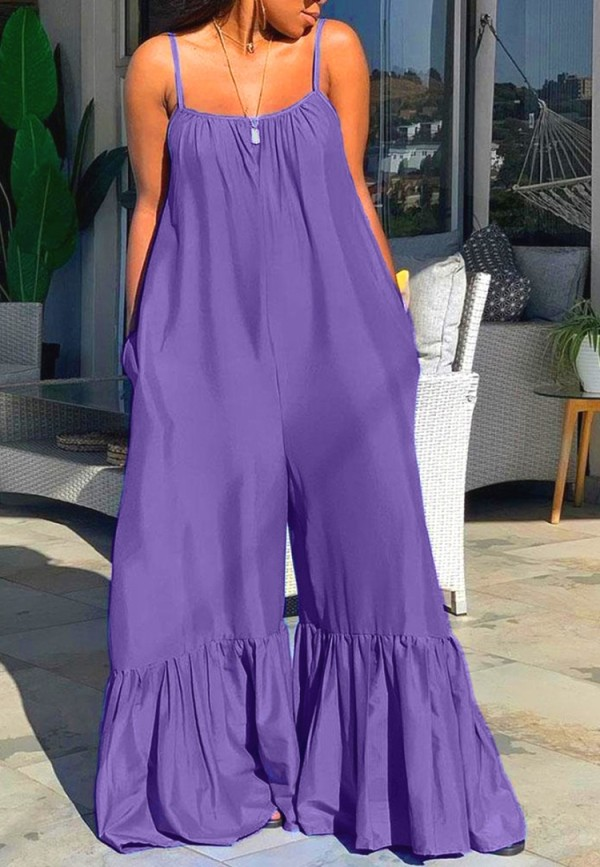 Sommer Plus Size Casual Lila Strap Bell Overalls