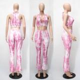 Sommer Tie Dye Pink Lace-Up Crop Top und Hose Set