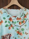 Sommerhemd mit O-Ausschnitt und Animal-Print