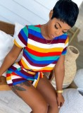 Sommer Casual Rainbow Crop Top und Shorts 2-teiliges Set