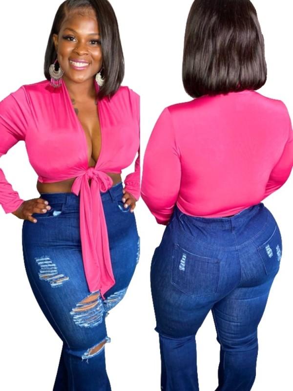 Top corto anudado de manga larga rosa de talla grande de verano