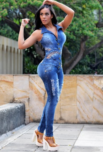 Summer Casual Sleeveless Hollow Out Blue Ripped Denim Jumpsuit