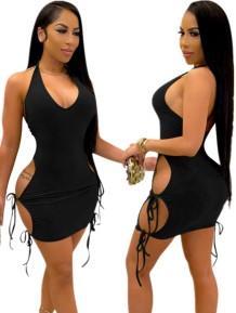 Vestido bodycon verão preto com corte sexy com alças