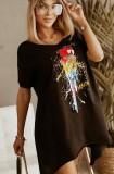 Sommer-Print Schwarzes unregelmäßiges langes Hemd mit O-Ausschnitt