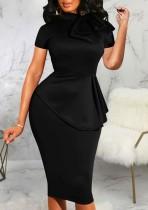 Yaz Vintage Siyah Kısa Kollu Peplum Ofis Elbise
