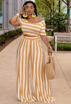 Summer Casual Stripes Crop Top and Loose Pants 2PC Set