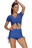 Summer Sexy Blue Waffle Strings Crop Top y Shorts Conjunto de 2 piezas