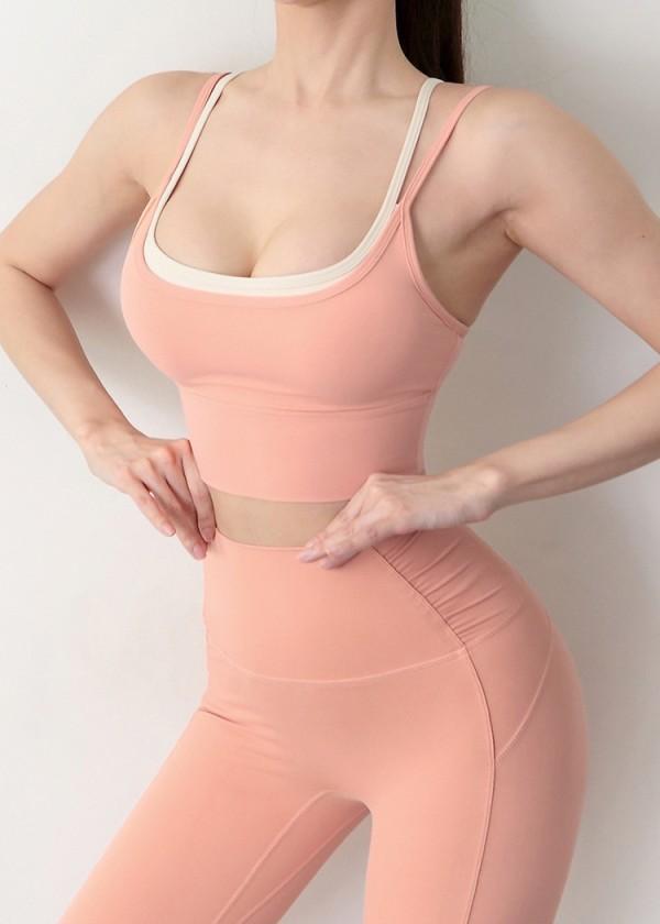 Summer Sports Pink Yoga Sujetador y conjunto de leggings
