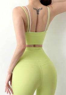 Summer Sports Green Yoga Sujetador y conjunto de leggings