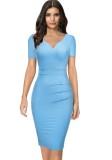 Vestido de oficina lápiz de manga corta azul vintage de verano