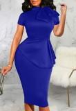 Vestido de oficina Peplum de manga corta azul vintage de verano