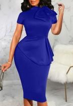 Yaz Vintage Mavi Kısa Kollu Peplum Ofis Elbise