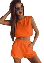 Conjunto de 2 peças para verão casual corte laranja cortada top e shorts