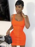 Sommer Orange Sexy Lace-Up Enges Trägerkleid