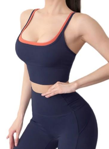 Ensemble soutien-gorge et legging de yoga bleu Summer Sports