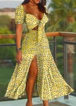 Verano amarillo floral elegante raja vestido largo