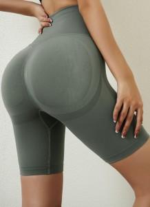 Pantalones cortos de yoga de cintura alta verdes deportivos de verano