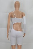 Summer Sexy White Cut Out Un hombro Bodycon Rompers