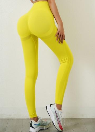Leggings de yoga taille haute jaune Sports d'été