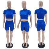 Set 2 pezzi con top corto aderente e pantaloncini aderenti sexy estivi