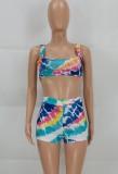 Conjunto de 2 piezas de sujetador y pantalones cortos multicolor sexy de verano