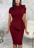 Vestido de oficina Peplum de manga corta roja vintage de verano