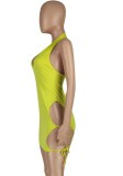 Summer Green Cut Out Sexy Strings Halter Bodycon Dress