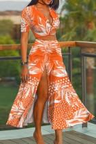 Conjunto de correspondência para verão laranja floral elegante corte superior e saia longa com fenda