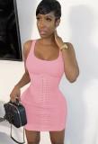 Vestido sin mangas ajustado con cordones sexy rosa de verano