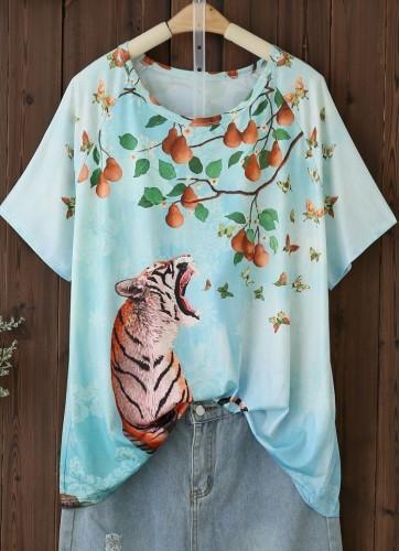 Chemise ample à col rond et imprimé animal d'été