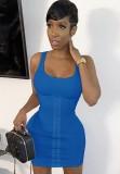 Sommerblaues, sexy, enges Trägerkleid mit Schnürung