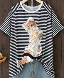 Camisa solta com estampa de animal de verão com gola em O