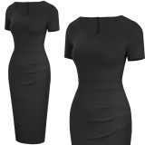 Vestido de oficina lápiz de manga corta negro vintage de verano