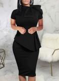 Vestido de oficina Peplum de manga corta negro vintage de verano