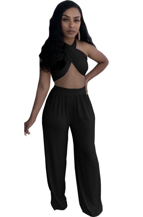 Summer Black Sexy Halter Crop Top y pantalones sueltos Conjunto de 2 piezas