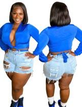 Top corto anudado de manga larga azul de talla grande de verano