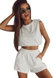 Set da 2 pezzi con top corto e pantaloncini estivi casual bianchi
