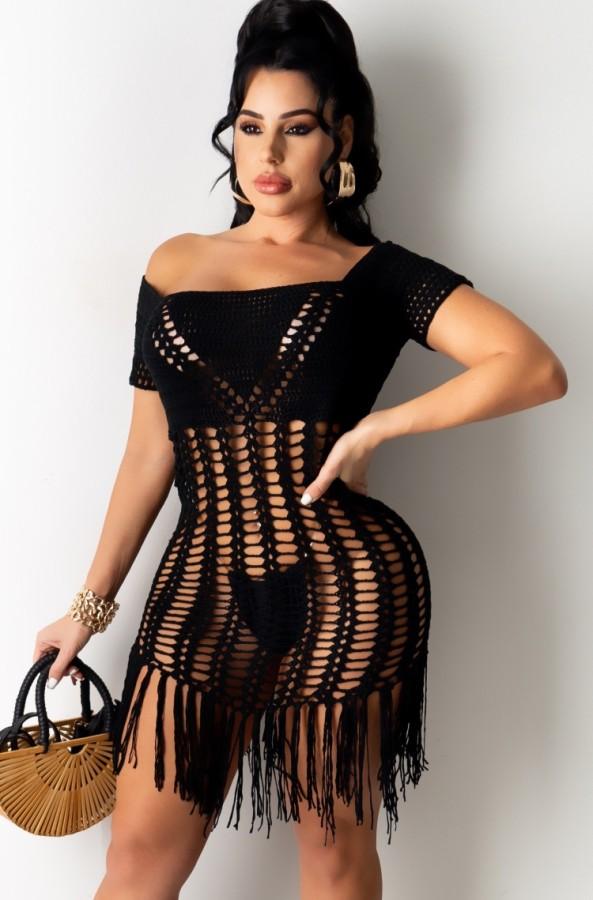 Vestido de flecos de ganchillo negro de verano encubrimiento