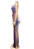 Sommer Sexy Multicolor Schlitz Bottom Neckholder Jumpsuit